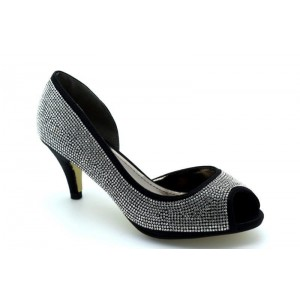 Mid Heel Side Cut-Out Shoes in Shimmer Glitter With Diamante Upper