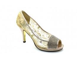 Mesh Glitter Bridal Mid Heel Platform Sandals